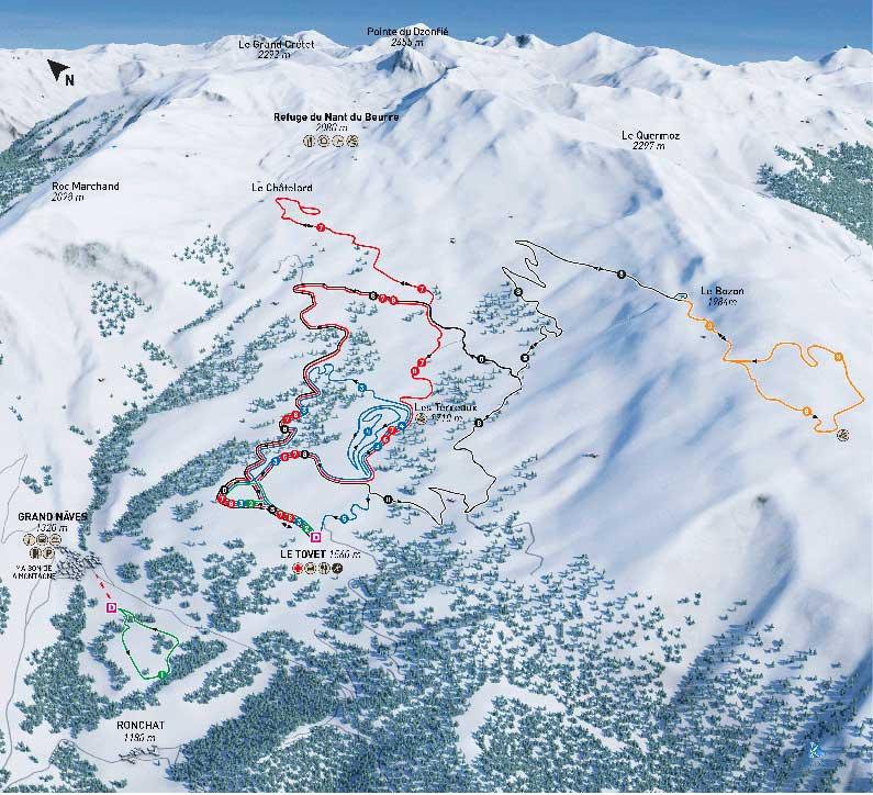Nâves plan itinéraires ski de fond